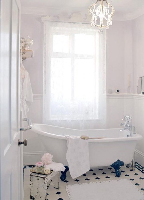 Beautiful Pastels are suitable for such bathrooms but mostly for girlish ones