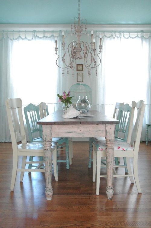 26 ways to create a shabby chic dining room or area for White dining room decor
