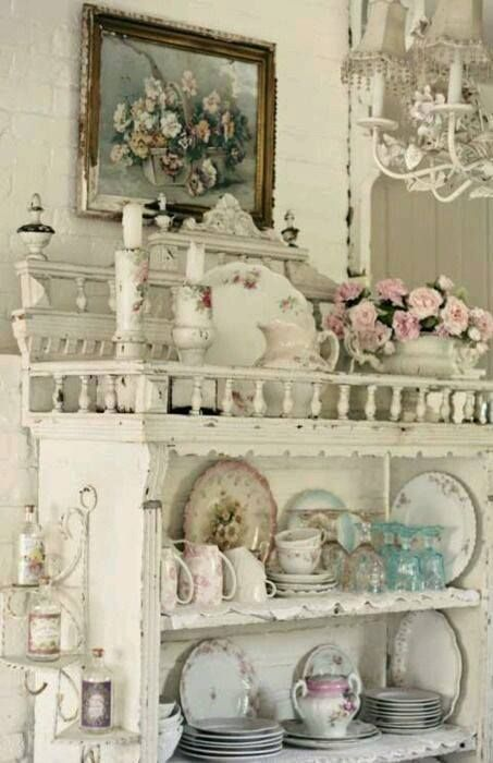 Whitewashed Shabby Chic Wall Shelving Unit