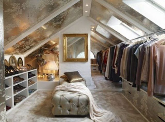 Attic Closet With Hangers And Shoe Shelves