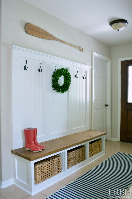 entryway bench with baskets for storage