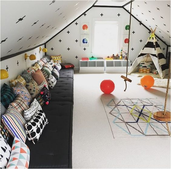 geo print attic kidsu0027 room & 30 Cozy Attic Kids Rooms And Bedrooms - Shelterness