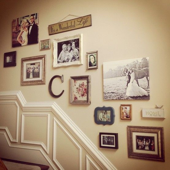 Family shots mixed with letter art and various vintage pics look great together.