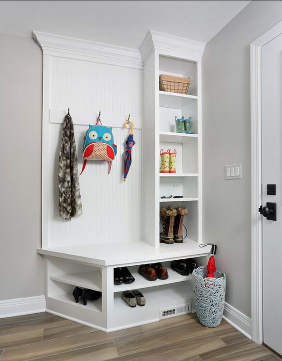 white furniture works good in a mudroom but make sure it's covered with lacquer for easy cleaning