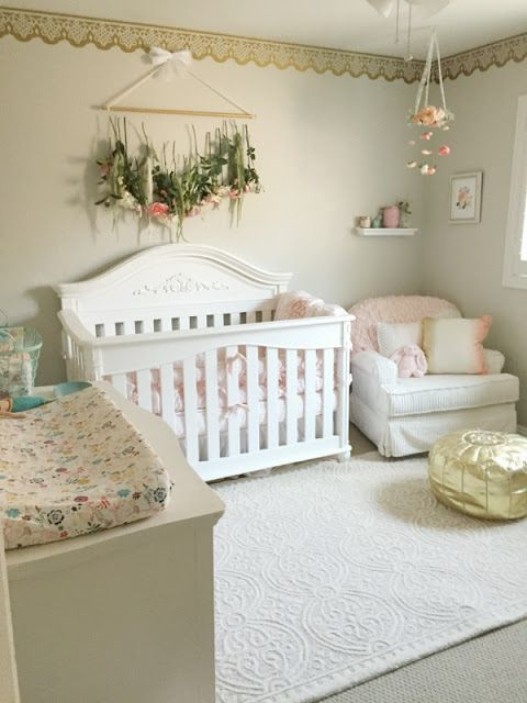 whitewashed shabby nursery with blush details