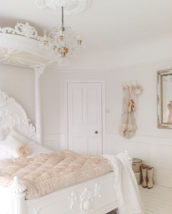 French-inspired white shabby bedroom