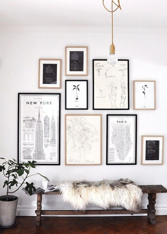 Inspirational bold gallery art wall black and white is a way to go for modern interiors
