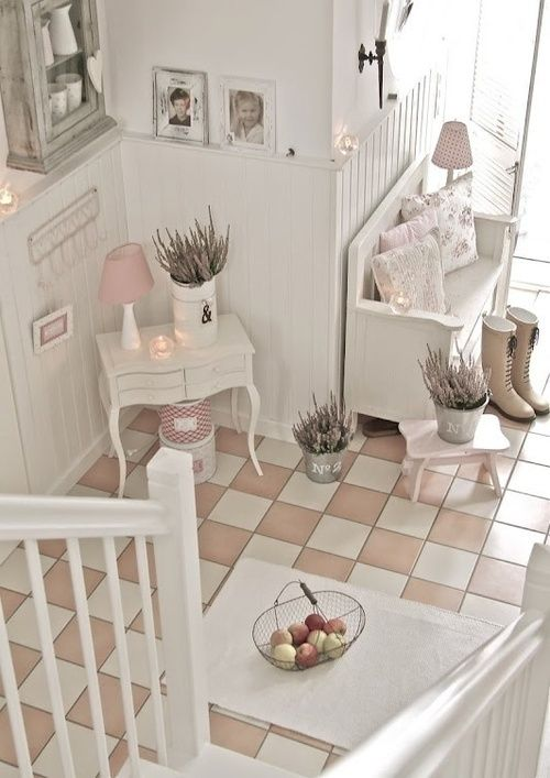 delicate hallway with blush touches