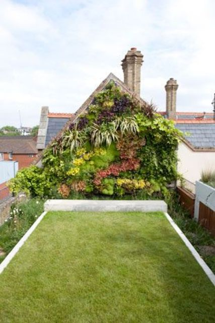 lawn and vertical screen rooftop garden for privacy