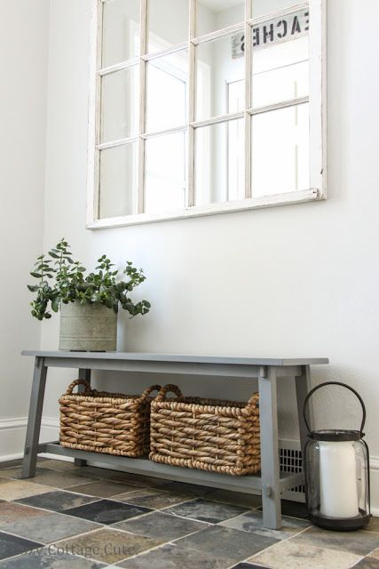 sawhorse mudroom bench with baskets
