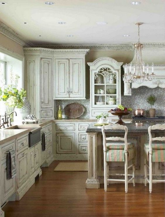 Shabby Chic Greyish Kitchen Cabinets Nice Ideas