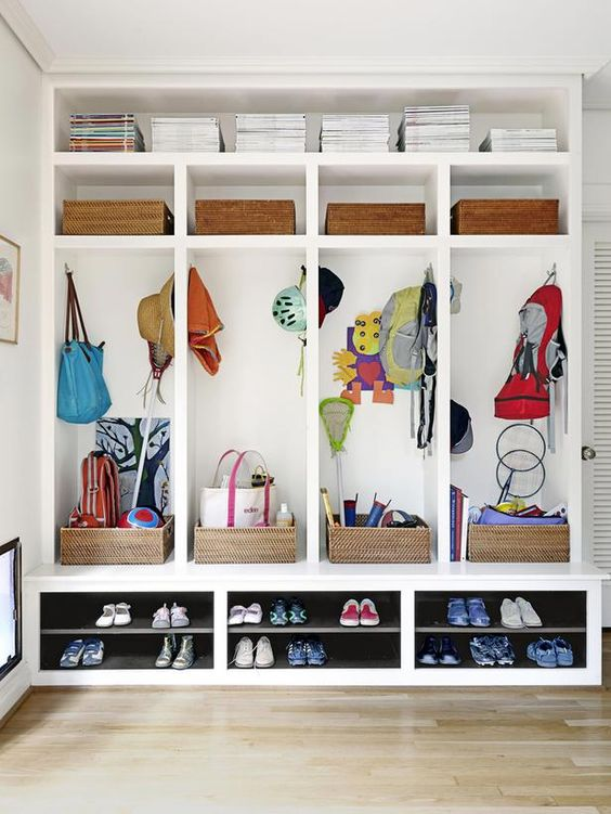 mudroom locker with boxes