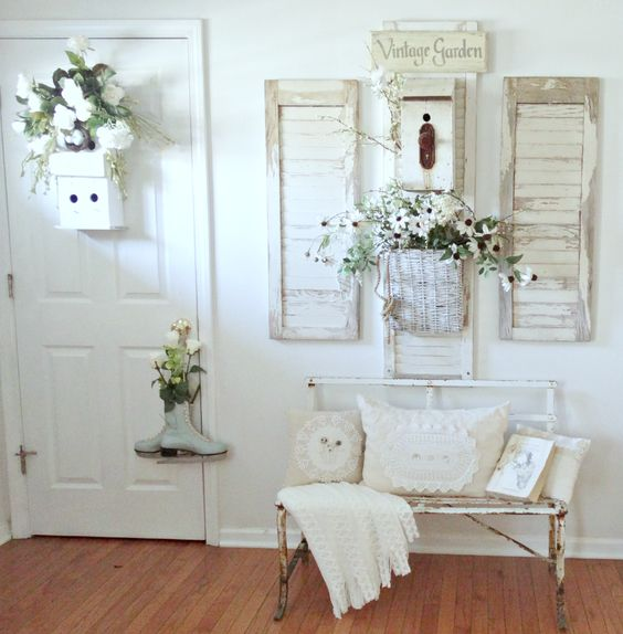 shabby chic cottage-style whitewashed entryway