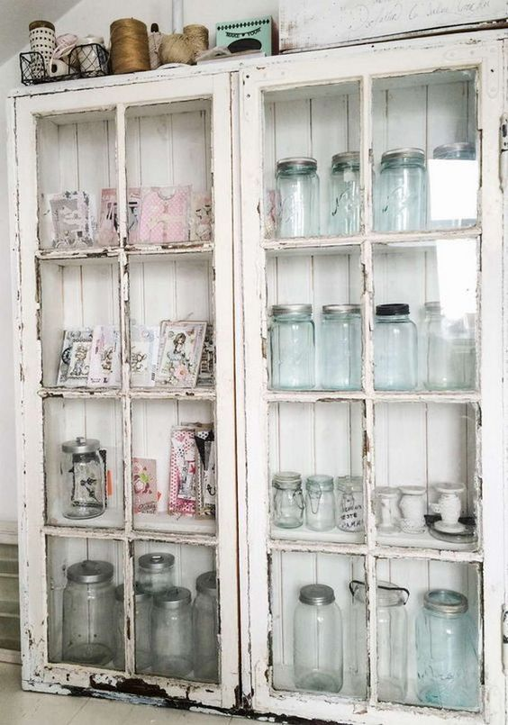 shabby chic white glass cabinet