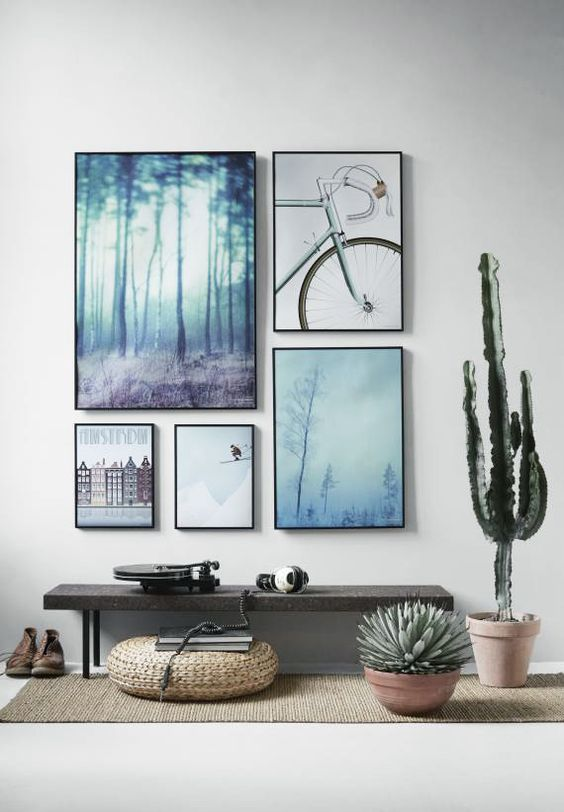 shades of blue gallery art wall & How To Create An Art Gallery Wall: 5 Tips And 25 Ideas - Shelterness