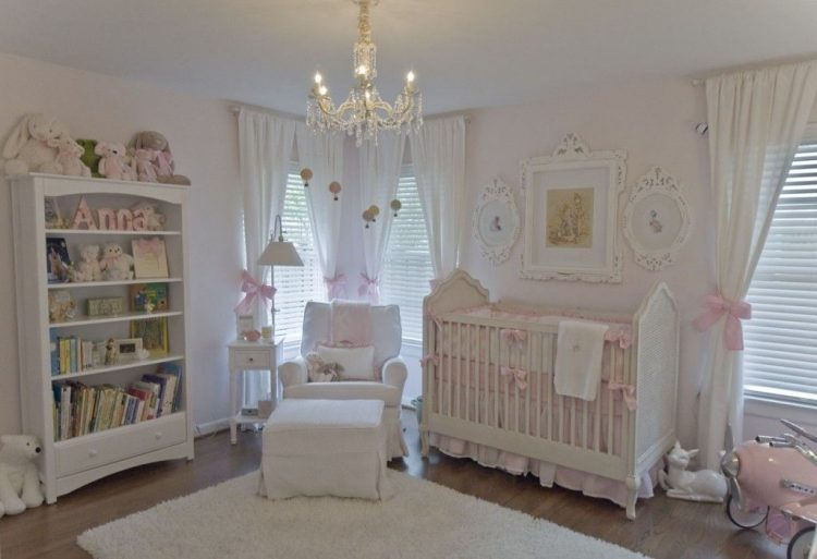 white shabby chic nursery with pink decorations