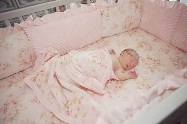 blush floral bedding for the crib