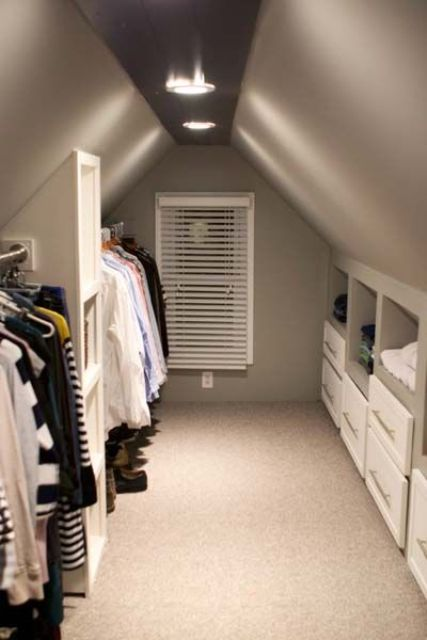 built-in drawers and clothes hangers