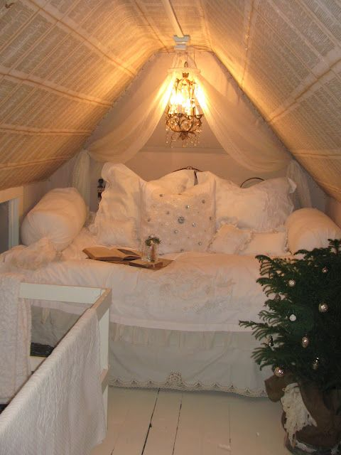 cozy shabby chic sleeping nook in the attic