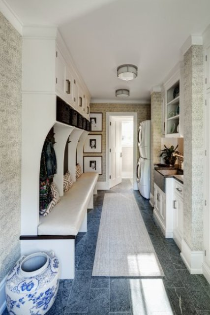long narrow laundry in the mudroom