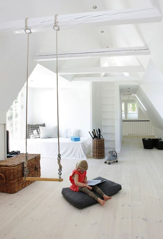 modern attic kids room