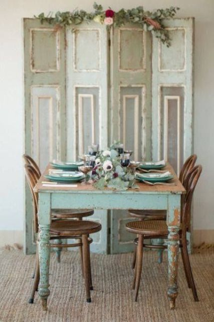 neutrals and blue shabby dining area