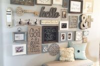 07 rustic gallery art wall with 3D additions