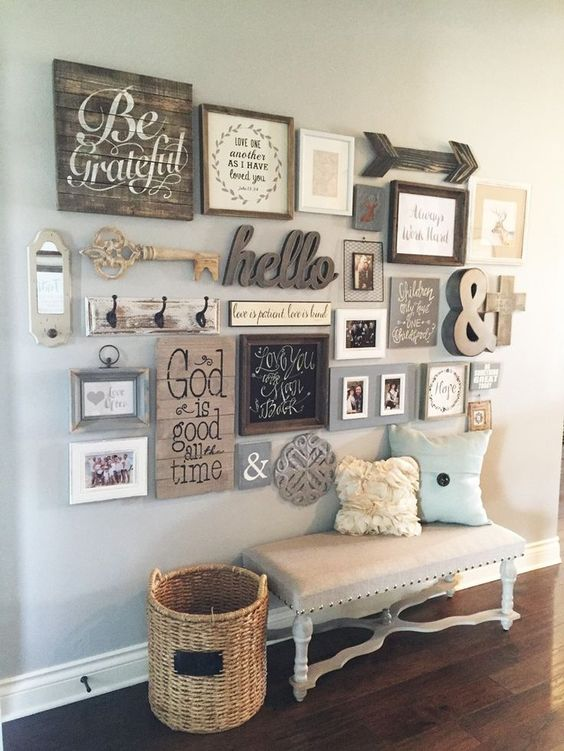 rustic gallery art wall with 3D additions