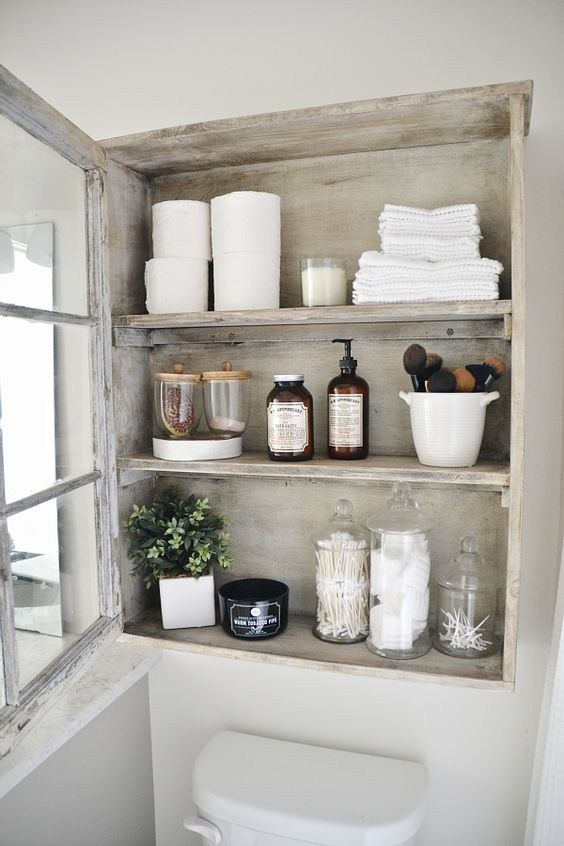 make your own distressed glass cabinet from an old one adding a glass door or a