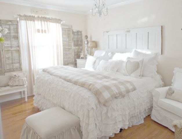 white shabby chic cottage style bedroom