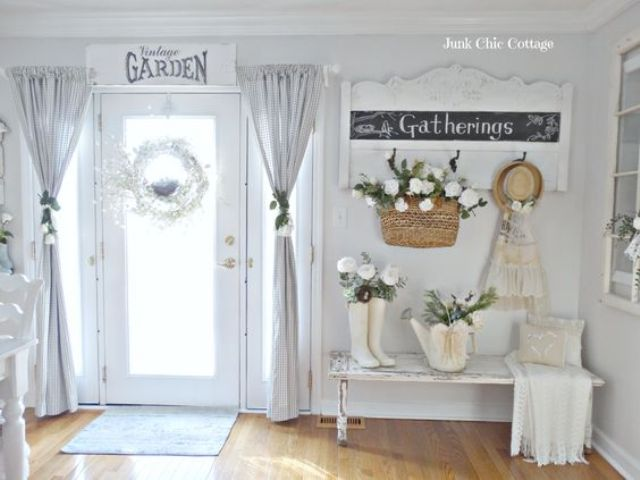 whitewashed shabby chic entryway