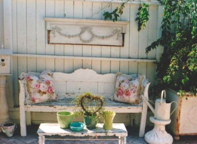 whitewashed wooden back patio in shabby chic style