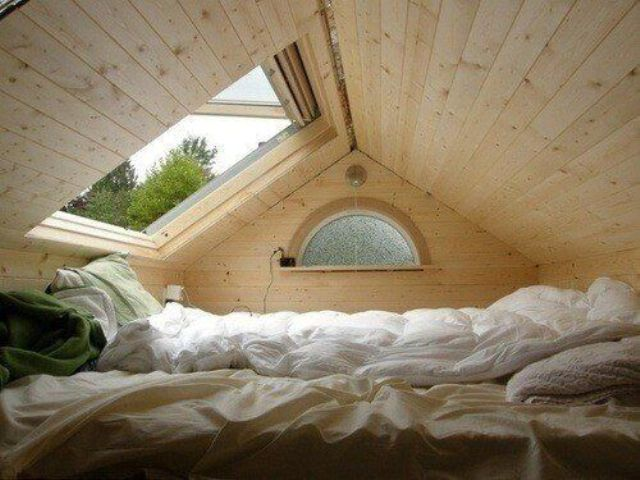 cozy sleeping nook right under the roof