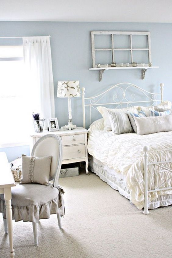 serenity shabby chic bedroom with white furniture