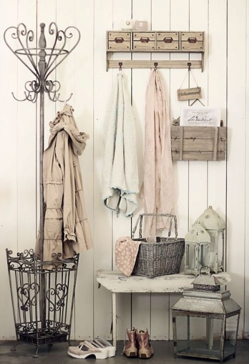 whitewashed shabby chic entryway entryway with pastel touches