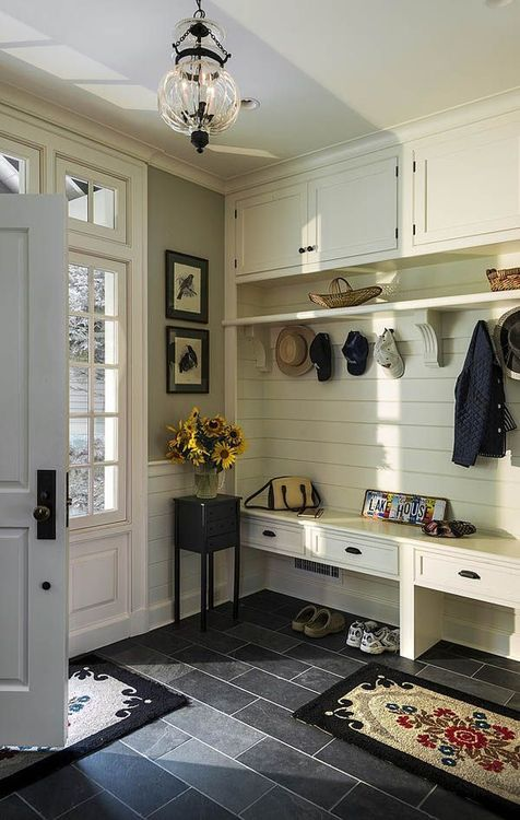 built-in drawers and top for a mudroom