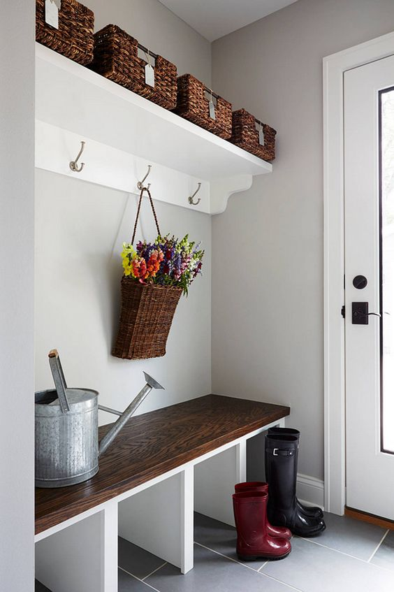 built-in mudroom bench with shoe storage