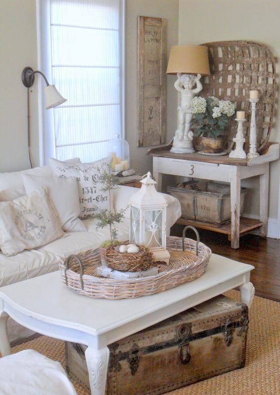 neutral-colored shabby chic room with touches of natural wood