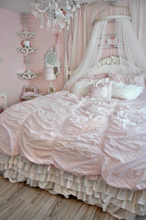 pink girlish shabby chic bedroom design