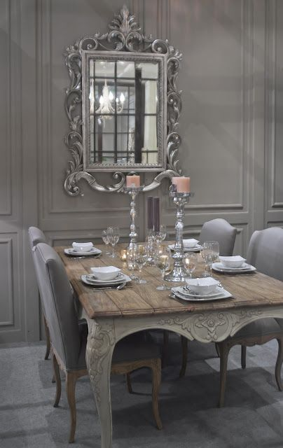 shabby French-styled grey dining room