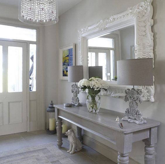 whitewashed shabby chic entry with grey touches