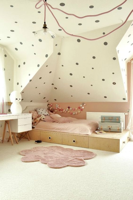 Picture of blush and polka dot attic girls room for Girls bedroom paint ideas polka dots