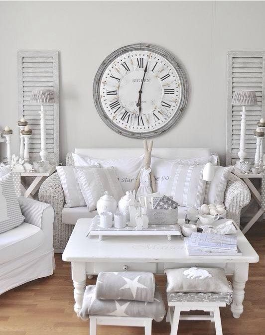 chic whitewashed shabby chic living room