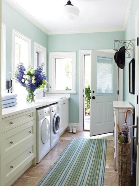pastel-colored mudroom laundry
