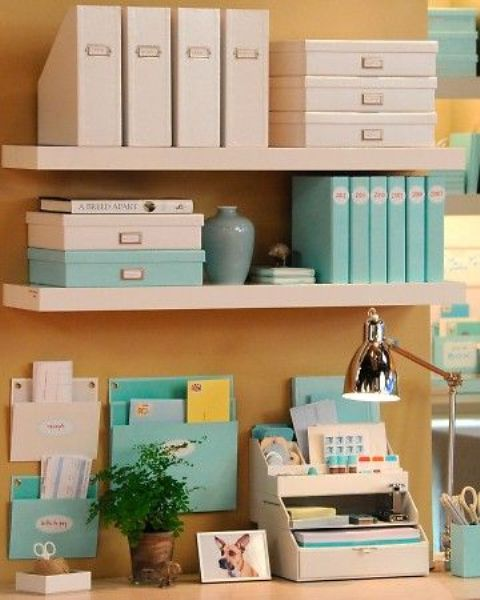 Picture of wall shelves to declutter the desk - Desk organization accessories ...