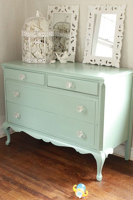 mint shabby chic sideboard for a bedroom