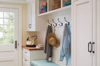 11 mudroom bench with open compartments