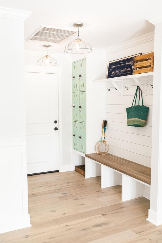 narrow built-in entryway bench