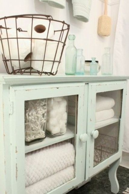 Luxury shabby chic mint colored bathroom glass cabinet