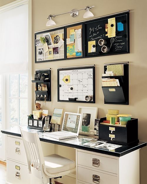 wall-mounted magnetic boards and organizers save some desk space